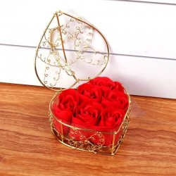 Heart boxe with 6 rose soaps. Golden heart box. Rose flower soaps. Romantic gift