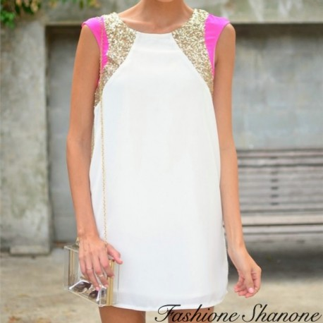Pink white and gold sequin dress
