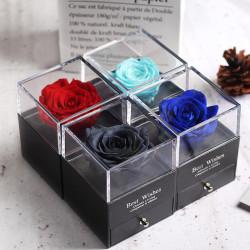 Boîte à bijou rose éternelle. Boîte cadeau contenant une rose éternelle et un tiroir à bijou.