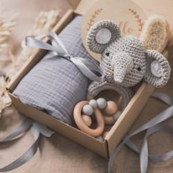 Boîte de naissance avec couverture nouveau-né, jouet en bois, hochet en bois et brosse en bois