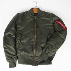 Orange reversible army green bomber jacket