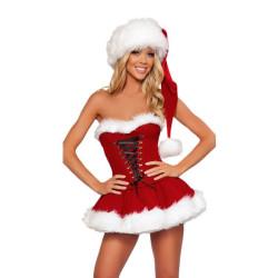 Robe Noël corset. Bonnet père Noël. Robe mère Noël.
