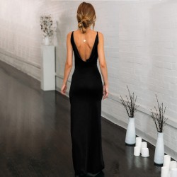 Maxi slit dress with backless