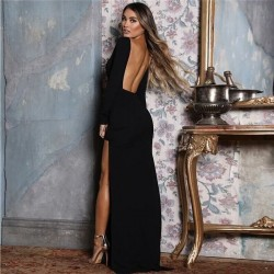 Long-sleeved maxi dress with backless