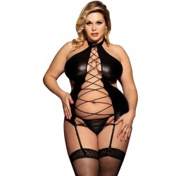 Plus size leather erotic outfit