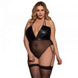 Leather garter belt bodysuit