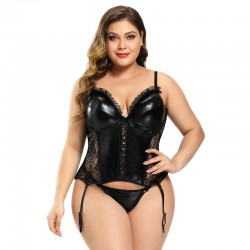 Plus size garter belt vinyl corset with G-string