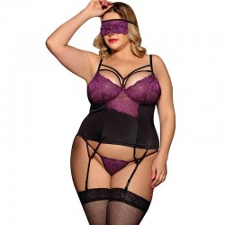 Garter belt corset and G-string with eyeband