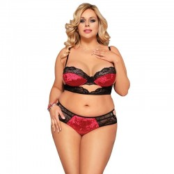 Plus size red and black lingerie set