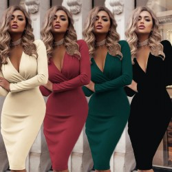 Plunging neckline bodycon midi dress
