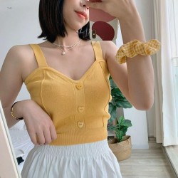 Crop top with heart buttons