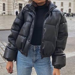 Short leather down coat