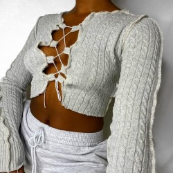 Crop top with lace up neckline