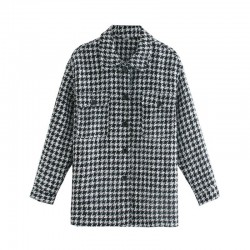 Houndstooth shirt jacket