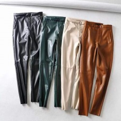 Pantalon legging en cuir
