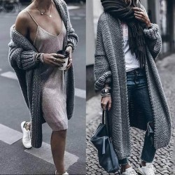 Long gray wool cardigan