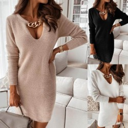 Sweater dress with golden collar