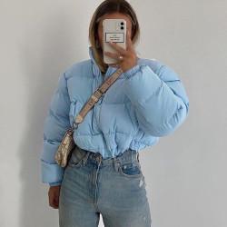 Sky blue crop down coat