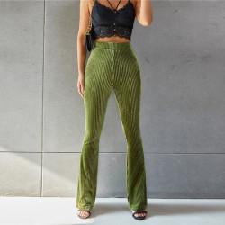 Green velvet flared pants