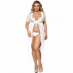 Plus size long dressing gown and G-string
