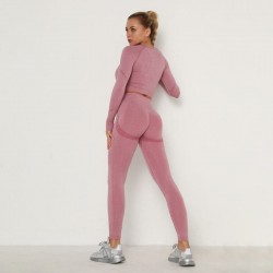 Long sleeves crop top and pants fitness set