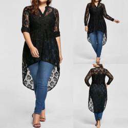Longue blouse en dentelle grande taille
