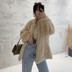 Puff sleeves fur coat