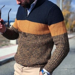 Tricolor V-neck sweater
