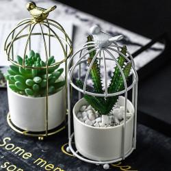 Pot de fleurs cage à oiseaux