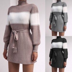 Sweater dress with belt