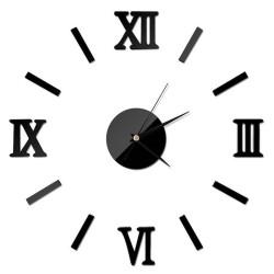 Horloge murale chiffre romain noire sticker