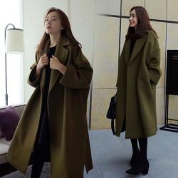 Army green wool coat