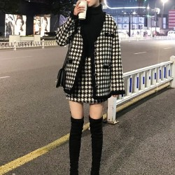 Houndstooth jacket and skirt set