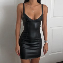 Plunging neckline leather dress