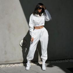White cropped sweatshirt and pants set