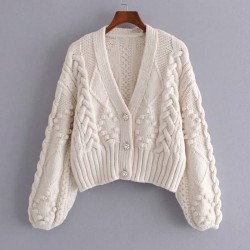 Beige cardigan with puffed sleeves