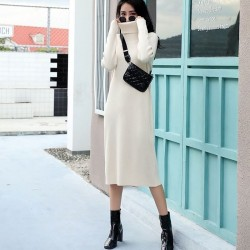 Beige knit dress