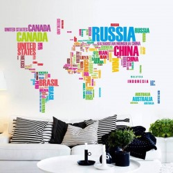 Sticker mural carte du monde