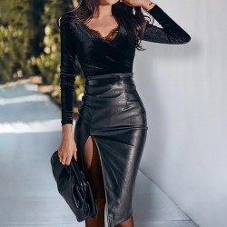 Mid-length split leather skirt
