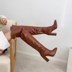 Brown croco tight boots