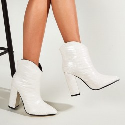 Croco pointed ankle boots