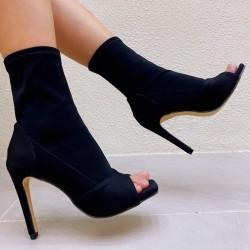 Black peep toe ankle boots