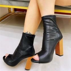 Leather peep toe boots