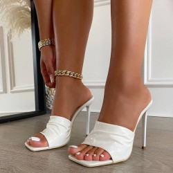 White square toe sandals