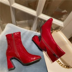 Red patent ankle boots