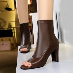 Leather peep toe ankle boots