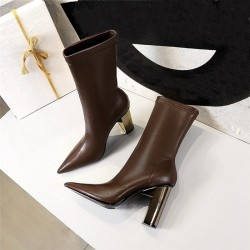 Bottines pointues en cuir