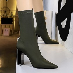 Army green pointed toe ankle boots