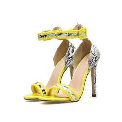 Yellow and snake sandals