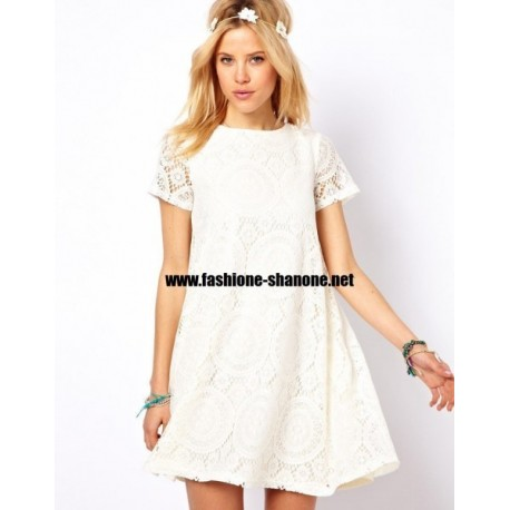 robe en dentelle blanche manches courtes With robe courte blanche dentelle